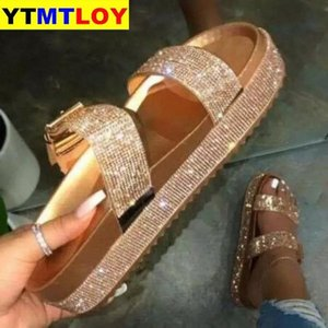 2021Summer Beach Bling Bling Crystal Rome Ladies Sandals Rhinestone Platform Mixed Color Cutouts Wedges Women Sandals Shoes Woman #c00X