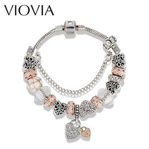 Charme Pulseiras Viovia Europeia Beads Bijuterias Jóias Prata Cor Coração Ouro-Branco Cristal para Mulheres DIY B16077