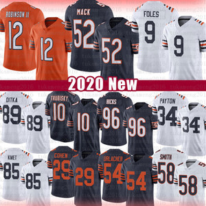 Nick Foles 52 Khalil Mack Football Allen Robinson II Jersey Mitchell Trubisky Walter Payton Cole Kmet Mike Ditka Roquan Smith Hicks Jackson