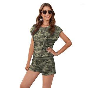Tyburn Summer Tracksuits deux pièces Set Femmes Loisirs Tenues de loisirs Coton Surdimensionné T-shirts haute taille Camouflage Vêtements1