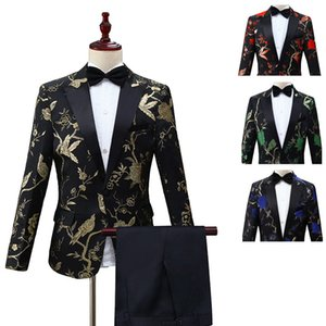 Suits Men 2019 New Long Sleeve Dress Mens for White Print Prom Suit Slim Fit Wedding Clothing Two Piece Set Coat Pants