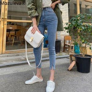 Mozuleva 2020 Yüksek Bel Stretch Skinny Kadınlar Jeans Pantolon Bölünmüş Manşet Kadın Kalem Jeans Kadınlar Streetwear Denim Jeans Pantolon C1009