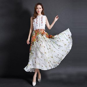 Summer Chiffon Floral Printed Female New Fashion Vintage Pleated Skirt Women Long Maxi Party Skirts Womens