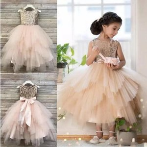 Champagne Ball Gown Flower Girl Dresses For Weddings Sequined Toddler Pageant Gowns Tulle Tea Length Tiered Kids Prom Dress