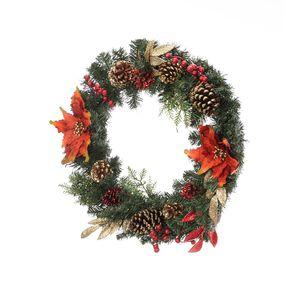 Отправленные из американского Wharehouse Artisasset Рождественский венок, украшенный красными цветами и сосновыми орехами фестиваля гирлянды