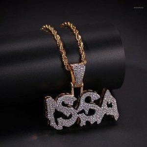 Хип-хоп Micro Pave Green Cubic Zirconia Bling Out Issa Письмо, ожерелье для мужчин рэпер ювелирные изделия Gold Color1