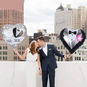 Bride and Groom Aluminum Foil Heart Balloons Giant Mr Mrs Latex Ballon Bride To Be Baloon Wedding Engagement Party Decorations