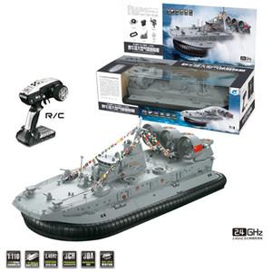 HG C201 1:110 2.4G RC Boat Ship Model Landing Water Air Cushion Landing Craft Remote Control Toys For Boys - EU   US Plug