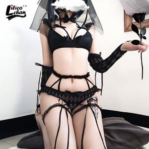 Un estilo uniforme Lilicochan novia de Cosplay Blanco Negro caliente para la ropa interior nupcial Mujeres Maid tentación trajes de boda del cordón lindo
