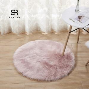 Rayuan Redondo rosa piel de oveja peluda Faux Mat Asiento Almohadilla Piel Llano Plazo Fluffy Suave Suave Tapetas 30 140cm Ukud #