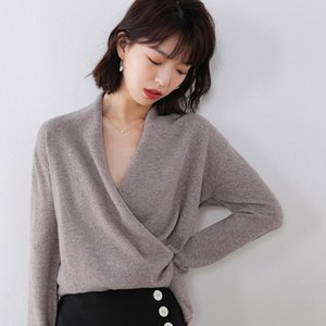 Hot Sale 100% Pure Wool Knitted Sweater Women V-neck Long Sleeve Standard Cashmere Knitwear Winter New Fashion Female Jumpers