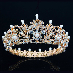 Baroque Retro Queen King Tiara Crown For Women Headdress Bridal Wedding Jewelry Dance Luxurious Crown Hair Accessories W0104