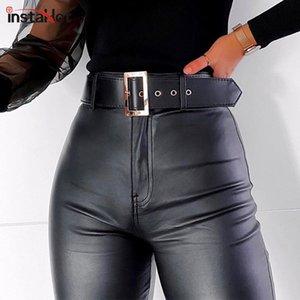 InstaHot InstaHot Black Belt Hohe Wiast Bleistift-Hosen-Frauen Kunstleder PU-Schärpen Hosen beiläufige reizvolle exklusiver Entwurf Capris