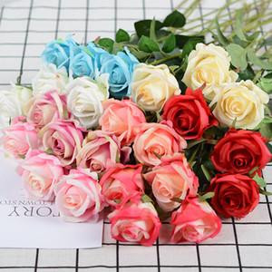Flor artificial Single ramificación curada rosa franela Simulación de seda ramo de flores de rosa para fiesta de bodas Adorno de decoración para el hogar de San Valentín