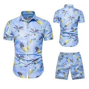 Erkek Eşofman Yaz Moda Hawaii Çiçek Baskı Gömlek Erkekler + Şort Set Erkekler Kısa Kollu Rahat Giyim Setleri Tracksuit Artı Boyutu1
