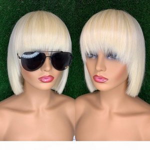 Transparent Lace Front Short Bob Wig 613 Blonde Colored Human Hair Full Wigs Straight Fringe Wig With Bangs For Black Women
