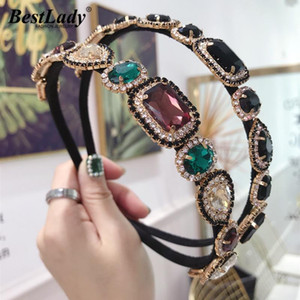 Best lady Luxury Crystal Headbands Women Girls Hair Accessories Shiny Korean Simulated Pearl Hair Bands Wholesale Headwear Gifts