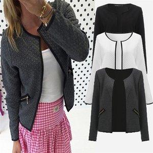 CNComNet Büyük Yard Sonbahar Ekose Ince Mont Kadınlar Kısa Ceketler Rahat Ince Uzun Kollu Blazers Hırka Kadın Dış Giyim Suits LJ201214