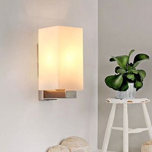 Modern Simple Glass Wall Lamp Bedroom Bedside Lamp 110V 220V E27 LED Corridor Stairs Lighting Wall Sconce Light Night Indoor #9V19