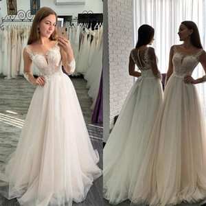 Plus Size A-line Wedding Dresses Sexy Illusion Sheer Long Sleeves Appliqued Lace Ruched Tulle Bridal Gown Beach Church Wedding Dress L195