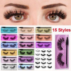 Eye Makeup False Eyelashes with Eyelash brush Set Mascara brush 3D Mink Lashes 15 Styles Dramatic Thick Natural Lashes Wispy Fluffy Eyelashe