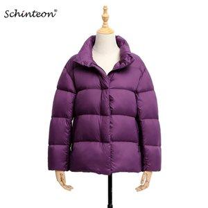 Schinteon Light Down Disk Stand Woll 90% белый утка вниз пальто повседневная свободная зимняя тележка высокого качества 8 цветов 201127