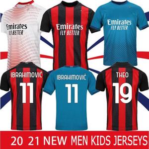 타이어 AC 20 21 새로운 축구 유니폼 2020 2021 이브라히모비치 피아 텍 밀라노 축구 셔츠 파 케타 Suso에게 이과인 CALHANOGLU CALDARA 남성 유니폼 핫