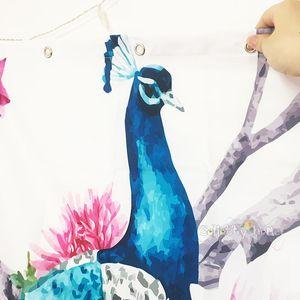 12 폴리 에스터 목욕 새 커튼 방수 샤워 깃털 복고풍 후크 공작 중국어 화면 커튼 욕실은 꽃 bbycPJ의 sweet07을 3D