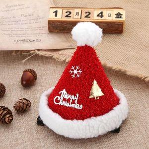1 Pcs Christmas Children's Plush Christmas Hat Hairpin Party Performance Cartoon Decorative Hairpin Cute Head Dress