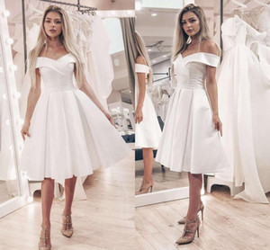 2021 Short Wedding Dresses Satin Elegant Off the Shoulder Knee Length Custom Made Beach Wedding Party Gown Vestido de novia