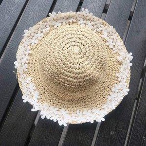 Menoea Hat Crianças 2020 New Verão bebê do sexo feminino Flores Straw Hat menina Fisherman pequeno fresco Sun Fat protetor solar Sun Tide 6Ivg #