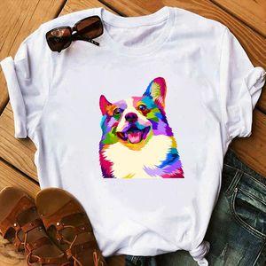 Funny watercolor Dog printed t shirt women 90s Graphic T shirt Harajuku Tops Tee Cute Short Sleeve animal tshirt Female Tshirts