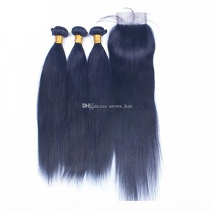 Free Part Lace Closure With Blue Colored Straight Hair Extension Dark Blue Virgin Hair Weft 3 Bundles With Lace Closure