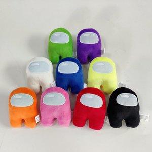 Among Us Plush 9 cores 10cm Jogo Soft Toy Plush com 10pcs Presente de Natal voz Kawaii Stuffed Boneca vermelha bonito Plushie pequeno