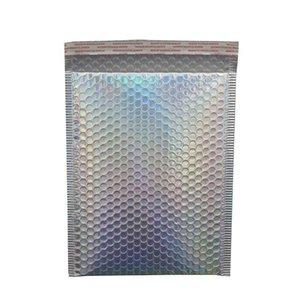 10 adet Lazer Gökkuşağı Postacılar Posta Zarf Torbaları Su Geçirmez Kurye Kabarcık Mailers Lazer Gümüş Yastıklı Zarf Wmtxli