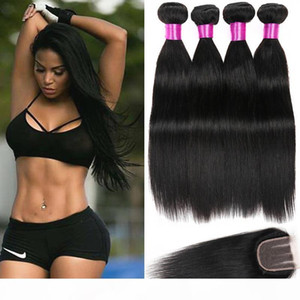 Brazilian Straight Hair Bundles With Closure Human Hair Bundle With Lace Closure Brazilian Virgin Hair Extensions