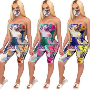 Large Leaf Printing Skinny Short Rompers Womens Jumpsuit Sexy Off Shoulder Playsuit Summer Strapless Backless Overalls with Mask