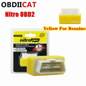 Yellow for Benzine Power Prog Nitro OBD2 Benzine Car Chip Tuning Box ECO OBD2 Plug&Drive ECU Remap OBD Tool Save Fuel