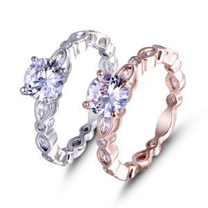 Hot Sale Plated Rose Gold White Gold Zircon Ladies Ring Creative Jewelry Engagement Ring Supply Fashion Rings