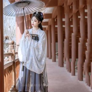 Hanfu традиционный китайский костюм Фея Тан костюм Folk платье Женщины Folk платье Вышивка Ancient Новый год Одежда Танец Robe