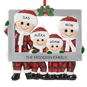 Christmas Love Family Pendant Photo Frame DIY Name Benediction Ornament Xmas Tree Hanging Pendants Party Decoration KKB2726