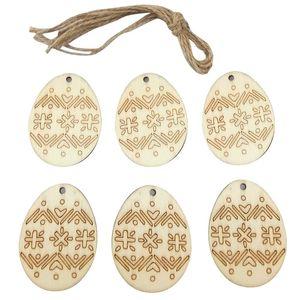 6pcs lot Wood Easter Eggs Pendant DIY Creative Wooden Craft Easter Ornament Hanging Pendants Festival Home Decoration Supplies E122805