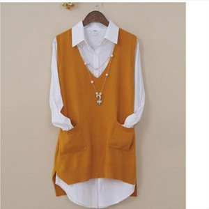 Womens Spring Autumn Cashmere Knitted Vest Both Sides Split Loose Sweater Vest Waistcoat Female Pullover Sleeveless Tops