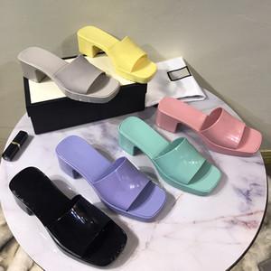 Sıcak Satış-Kadınlar Kauçuk Yüksek Topuk Slayt Sandal 6 cm Platformu Terlik Pembe Yeşil Şeker Renkler Açık Plaj Slaytlar Terlik Kutusu ile Terlikler Terlikler