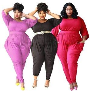 Women plain S-5XL bodysuit fall sexy jumpsuits pants rompers plus size long sleeve bodysuit solid color capris fashion clothing DHL 3919