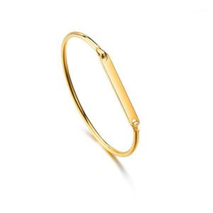 Nome personalizado ID pulseira pulseira de moda cor de ouro de aço inoxidável pulseiras de manguito para mulheres braceletes de jóias 20191