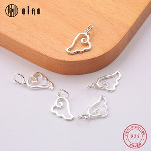 One piece 12*11.2mm 925 Sterling Silver cute Angel wings Pendant silver Charms Pendant for Women jewelry findings birthday gifts