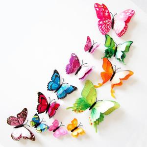 Kelebek Duvar Çıkartmaları Duvar Dekoru Duvar Resimleri 3D Mıknatıs Kelebekler DIY Sanat Çıkartmaları Ev Çocuk Odaları Dekorasyon 12 adet / grup DHD3735