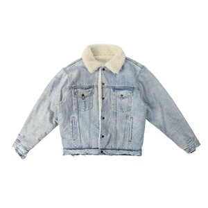 KANYE heavily washed and worn out damaged lamb fur collar denim jacket trendy men plus velvet warm jacket