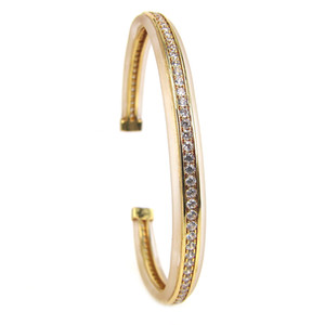 Pure Gold Color Transparent Rubber Cuff Bangles,Micro Pave Clear CZ Protecting Watch River Bangles For Men & Women